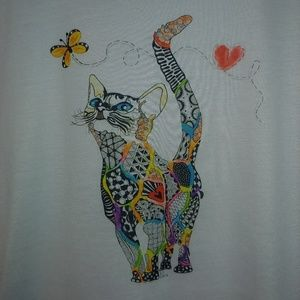 Tops - Like New Mosaic Cat Print Short Sleeve T-Shirt, L
